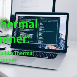 diy thermal scanner is displayed on a laptop running code.